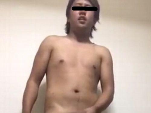 【本物ノンケ動画】むっちりノンケのとび職君が全裸になってチンポをシゴく!