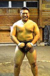 笑顔の相撲部員
