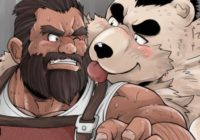 【デブコミック】鍛冶屋の親方が熊獣人に捕らわれ、地下で犯される!